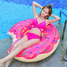 Inflatable Pools Wholesale Canada - Fast Inflatable Donuts Swimming Laps Pool Toys Water Supplies 120cm Lifebuoy Inflatable Adult Super-sized Thicken Beach Toys DHL Shipping