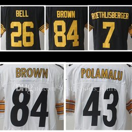 09e736fae9d ... 26 leveon bell 43 troy polamalu 84 antonio brown ... stitched 84  antonio brown jerseys men 7 ben roethlisberger artie burns 43 troy ...