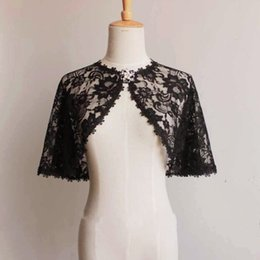 Barato Casaco De Marfim Curto Elegante-Autumn Thin Lace Casamento Bolero Elegant Short Evening Capes Marfim Black Jacket Women Wrap One Size