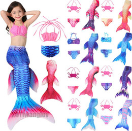 Barato Terno Dos Miúdos Dos Biquinis-Kids Mermaids Fin Tail Bikini Set Meninas Mermaid Tail Swimsuits Cosplay Bikini Bathing Suit Swimwear Swimwear KKA1964