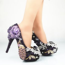 Barato Strass Preto Sapatos De Dama De Honra-Hand-Made Black e Purple Tassel Flower Cinderella Shoes Prom Evening High Heels Beading Rhinestones Bridal Damas Wedding Shoes 166
