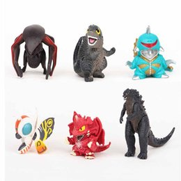 Barato Boy Set Modelos-6 pcs / set. 5 cm Pop Cartoon Godzilla Figurine Modelo Toy Ultraman Monsters Dinossauro Modelo Ação PVC menino brinquedo