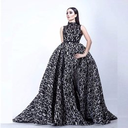 China Fashion Vestidos De Formature Black and White Evening Gown High Collar Sleeveless Mermaid Prom Dresses with Overskirt supplier silver lace front suppliers