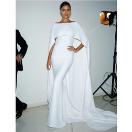 $enCountryForm.capitalKeyWord Canada - Long Formal Evening Dresses Elegant White Mermaid Prom Gown With Wrap 2017 Kaftan Arabic Boat Neck Special Occasion Dress
