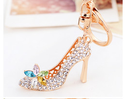 China Shiny White Pink Colorful Crystal High Heeled Rhinestone Keychain Pendant Cars Shoe Ring Holder Chains Gold Plated Key Rings Women Gifts cheap skeleton shoes women suppliers