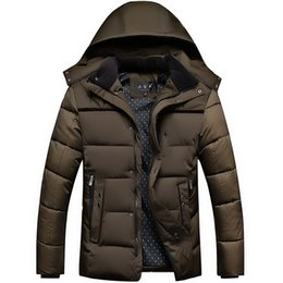 Barato Capuz Casual Masculino Casual-Atacado- 2016 Hot Men's Winter Jacket Wadded Wadded Jacket Casual Thick Down Algodão acolchoado Man Coat Hood Middle Age Campera Plus Size HJ536
