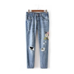 Chinese  Wholesale- Harajuku Ripped Hole Flower Embroidery Denim Pants New Woman Casual Jeans Femme Taille Haute Pantalon Pants Long Jeans Feminino manufacturers