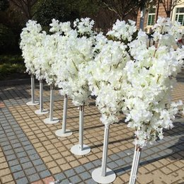 cherry blossom led light trees 2019 - 1.5M 5feet Height white Artificial Cherry Blossom Tree Roman Column Road Leads For Wedding Mall Opened Props cheap cherr