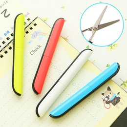 Left Handed Gifts NZ - Safety Cute Pen Shape Foldable Scissors Portable Right Left Hand Scisors Cutter Knife for School Sudent Office Use Gift Idea