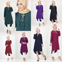 Barato Tops Islâmicos-Moda Mulheres Lady Muslim Loose T Shirt Vestido Superior Islamic Long Sleeve Bead Maxi Short Kaftan Abaya Arab Clothes