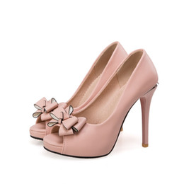 91f1f7a6359 2017 free shipping factory price PU Bowtie new style peep toes sexy high  heel women dress shoe 193