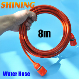 garden hose quick UK - Wholesale-25 feet 8m Orange PU Car Washing Garden Watering Hose Pipe With Quick Connector High Pressure Car Washer Pipeline conduit 5*8mm