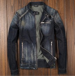 Stand Collar Denim Jacket Canada - Blue Denim Jean Classic Biker Motorcycle Jacket Stand Collar Retro Slim Fit Men's Jeans Coat Washed High Quality
