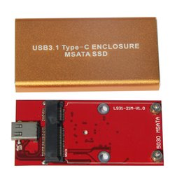 msata ssd disk 2019 - Wholesale- Universal USB 3.1 to MSATA HDD Enclosure Aluminum Alloy Shell TYPE-C To MSATA SSD Hard Disk with cable Wholes