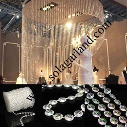 Vente En Gros De Perles De Cristal Pas Cher-Vente en gros 99 Feet Acrylic Clear Bubble Beads Roll Garland Acrylique Crystal Faceted Bead Garland String For Wedding Curtain Centerpiece Decor