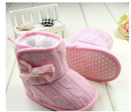 Barato Sapatos De Bebê De Lã Macia-Baby Girl Knit Bowknot Faux Fleece Bota de neve Soft Sole Kids Wool Baby Shoes