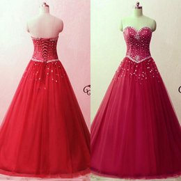 Corsets Retour Pas Cher-Red Fuchsia 2017 Quinceanera Robes Sweetheart Sans manches Corset Lace up Back Cristaux Tulle Sweet 16 Robes Custom Made