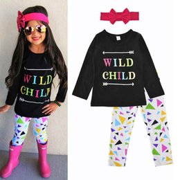 3pcs Set Children Winter Pas Cher-Western Girls Clothing Set Black Girls T-Shirt Autumn Winter Long Sleeve Girls Top Pants Outfit 3pcs Enfants Vêtements pour enfants