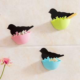 Green Box Containers NZ - Creative Bird's Nest Bathroom Small Objects Receive Box Plastic Hanging Wall Mini Cosmetics Sundry storage Container Box TT232