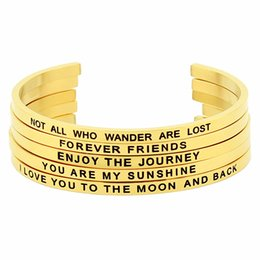 Bracelets & Bangles The Hottest Stainless Steel Words Engraved Brilliant Bangle Positive Inspirational Quote Open Cuff Mantra Bracelet For Women To Have A Unique National Style
