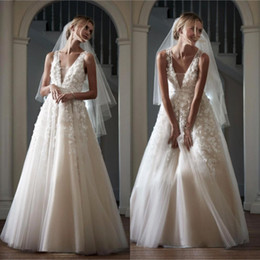 Chinese  2017 Custom Made Sheer Deep V Neck Wedding Dresses A Line Full Length Soft Tulle Appliques Long Bridal Gowns Bhldn BA4111 manufacturers