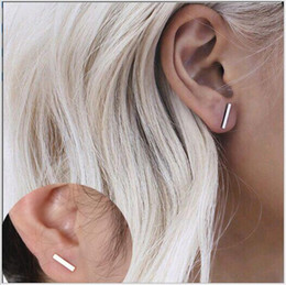 Price alloy bar online shopping - 3 Color Alloy Geometry T Bar Stud Earrings For Women Cheap Price Silver Gold Black Color Stud Earring Jewelry FM