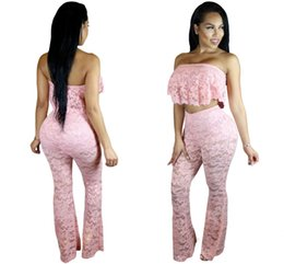 Barato Calça De Ruffle Larga-Pink Ruffle Lace Crop Top Wide Leg Pant Set 2017 Modest Fashion Two Pieces Mulher Romantice Prom Party Evening Pant Suit