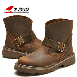 Men horse boots online shopping - new man Martin boots fashion genuine leather Motorcycle boots crazy horse leather man outdoor tooling boots