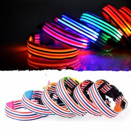 Discount lighted breakaway dog collar - Luminous Led Light Pet Collars Polyester Fiber Color Stripe Dog Necklet Safety Flashing Glow Small Medium Sized Dogs Lea