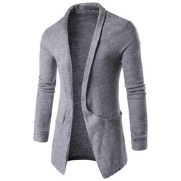 hooded outwear mens UK - Wholesale- 2020 Mens Fashion Autumn Winter Long Sleeves Lapel Neck Sweater Coat Long-Length Cardigan Coffee White Grey Black Outwear
