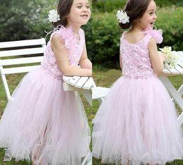 Blush Flower Girl Gowns Canada - Blush Pink Rose Pattern Flower Girl Dresses Handmade Flowers Tea Length Ruffles Tulle Princess Pageant Gowns Custom Made Communion Dresses