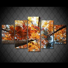 Leaf Oil Painting NZ - 5 Pcs Set Framed HD Printed Golden Leaves Tree Picture Wall Art Canvas Print Decor Poster Canvas Oil Painting