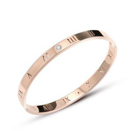 China The new Roman numerals diamond rose gold bracelet women fashion stainless steel stainless steel jewelry suppliers