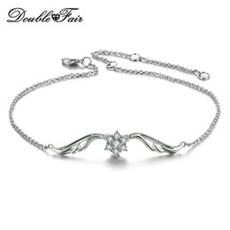 Butterfly White Rose Canada - Butterfly Rose White Gold Plated Imitation Gemstone Chain Bracelets Jewelry For Women Wedding Crysatl Wholesale DFH082