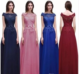 2017 New Cap Sleeves Burgundy Prom Dresses A Line Bateau Neck Lace Appliques Long Train Evening Party Gowns Cheap under 60 Bridesmaid on Sale