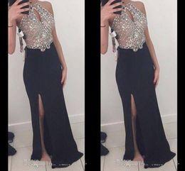 $enCountryForm.capitalKeyWord NZ - High Quality sheath Illusion Long Prom Dresses Side Split Rhinestones Beaded Halter Sexy Sheer Bodice Formal Dresses Evening Gowns
