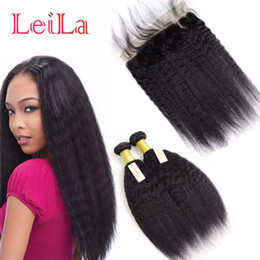 italian yaki lace closure 2019 - Malaysian Kinky Straight Hair With Closure 3Pcs Lot 100% Human Hair Bundles Italian Coarse Yaki With 13X4 Free Part Lace