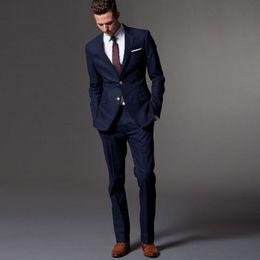 Dark Blue Suits Australia - Wholesale- Custom Made Dark Blue Men Suit Tailor Made Bespoke Men Wedding Suit Slim Fit Groom Suit For Men