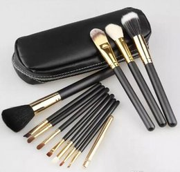 12 Brush Kit NZ - Brush Professional 12pcs Makeup Cosmetic Facial Brush Kit Metal Box Brush Sets Face Powder Fast Shipping 1Set=12 pcs