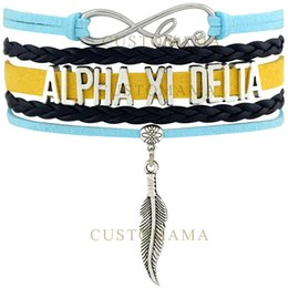 Delta Alloys Canada - Custom-Infinity Love Alpha Xi Delta Feather Charm Women's Wrap Bracelet Light Blue Navy Gold Suede Leather Custom Themes