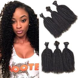 Brazilian Kinky Curly Braiding Hair UK - Peruvian Kinky Curly Human Braiding Hair Bulk No Weft for Black Women 8-28 inch Bulk Hair Can be Dyed FDSHINE