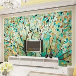 Discount Painting Tree Murals European Style Retro Retro Nude Hand Painted  Tree Wallpaper Wallpaper Living