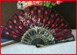 $enCountryForm.capitalKeyWord Canada - 100pcs lot Polyester Fabric Plastic Dance Fan Embroidery Peacock Fan with Sequins Black plastic frame cloth fan