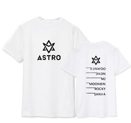 name printed t shirts 2019 - Wholesale- Summer style astro all member name printing t-shirt kpop jinjin rocky short sleeve t shirt plus size lovers t