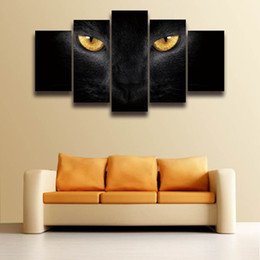 $enCountryForm.capitalKeyWord NZ - 5 Panel Canvas Wall Art Picture Cat Eyes Animal Painting Artwork Prints for Wall Art Home Decor Living Room Decorate House