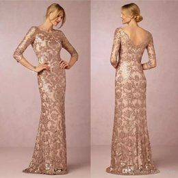 Barato A Mãe Elegante Veste O Casamento-2017 Elegant Rose Gold Sequins Lace Appliqued Mãe da Noiva Vestidos Cheap Evening Party Dress Vestidos de convidados de casamento formal