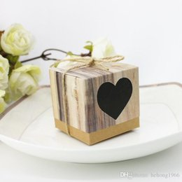 PaPer twine online shopping - Candy Box With Twine Winding Retro Kraft Paper Creative Love Heart Shape Square Box Personalized Wedding Party Decor zj F R