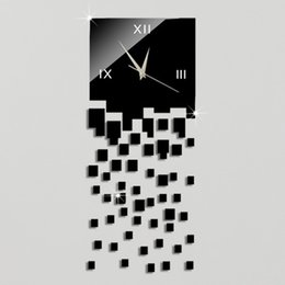 Luxury Wall Stickers Canada - Wholesale- Free Shipping Hot 3D Luxury DIY Wall Clock Acrylic Mirror Stickers Home Decoration Art Wall Watches