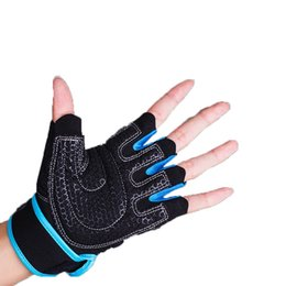 Wholesale Gym Body Building Half Finger Gloves Training Fitness Gloves Instrument Weight Lifting Workout Exercise Breathable Wrist Wrap