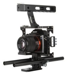 rigging kit dslr Canada - Freeshipping 15mm Rod Rig DSLR Camera Video Cage Kit Stabilizer+Top Handle Grip for Sony A7 II A7R A7S A6300 A6500 Panasonic GH4 GH3
